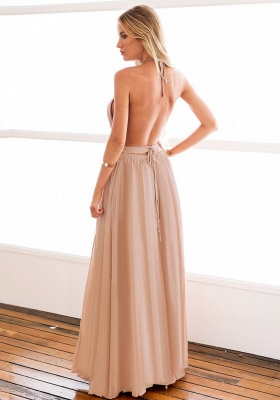 Halter Chiffon Open Back Summer Dress New Arrival Sleeveless Split Long Beach Dresses_6