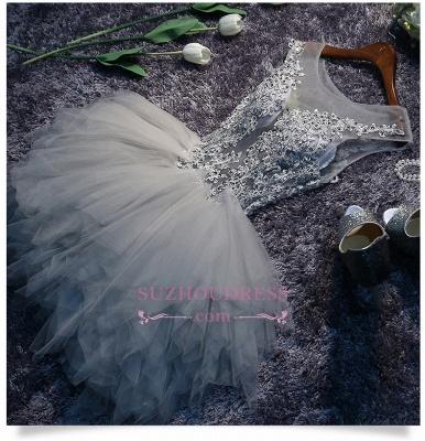 Lace-Appliques Short Puffy Sleeveless Illusion Cute Homecoming Dress BA7133_1