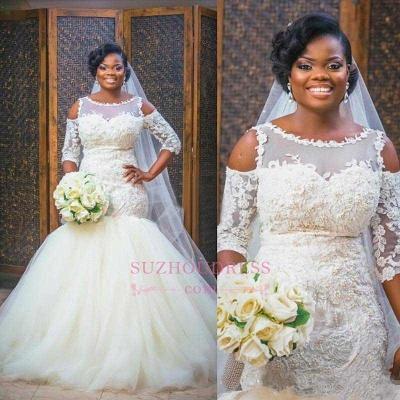 Mermaid Lace Appliques Half Sleeves Bridal Dresses Tulle Bottom Popular   Wedding Dress_1