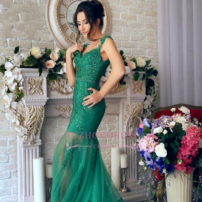 Appliques Green Evening Dress Mermaid Sheer Skirt Gorgeous  Off-the-Shoulder Prom Dress_3