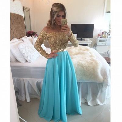 A-Line Long Sleeve Chiffon  Prom Dress Floor Length Beading Party Dresses_3
