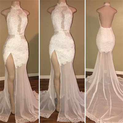 High Neck Sexy Side Slit Lace Prom Dresses Backless Sheer Tulle  Evening Gown BA8228_3