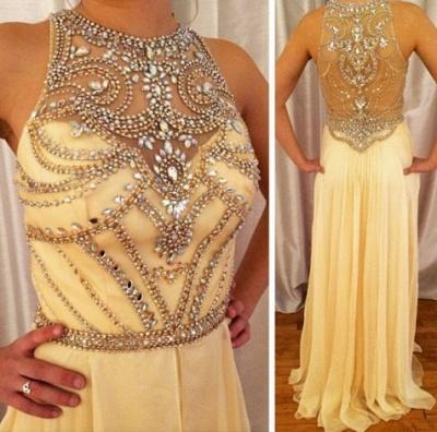 High Neck Crystal  Long Evening Dresses Chiffon Beadings Popular  Long Prom Dress_2