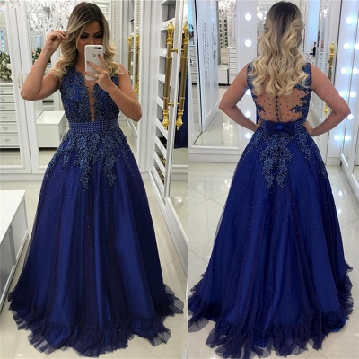 Royal Blue Beads Appliques Prom Dress Sleeveless Sheer Back Formal Evening Dress with Bowknot_4