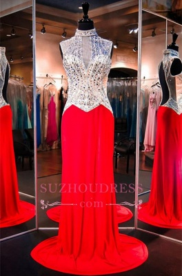 Sweep-Train Sleeveless High-Neck Newest Red Crystals Evening Dress_2