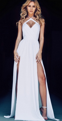 New Arrival Hlater Chiffon Evening Gown Simple Open Back Slit  Prom Dress BA2092_3