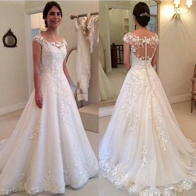 A-line Lace Tulle Wedding Dresses  Vestido de noiva Buttons Elegant Bride Dress_3
