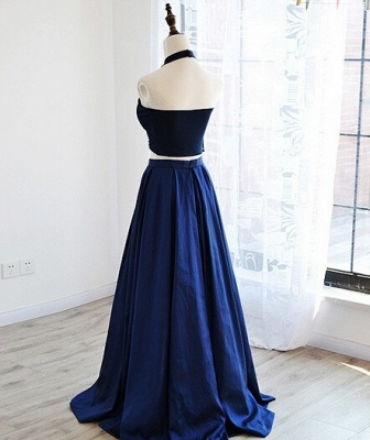 Two Piece Puffy Blue Navy Elegant Prom Dresses_4