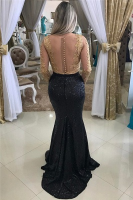 Shiny Black Sequins Evening Gowns Mermaid Gold Beads Appliques Long Sleeve Prom Dress_3
