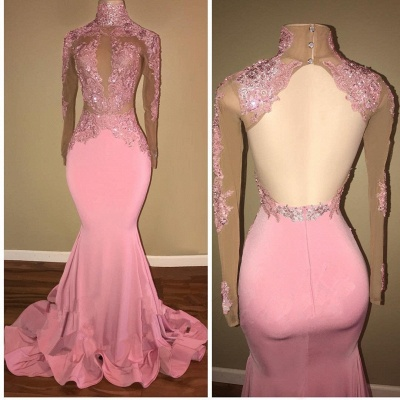 Candy Pink  Long Sleeve Prom Dress Lace Mermaid Open Back Sexy Evening Gown BA7959_3