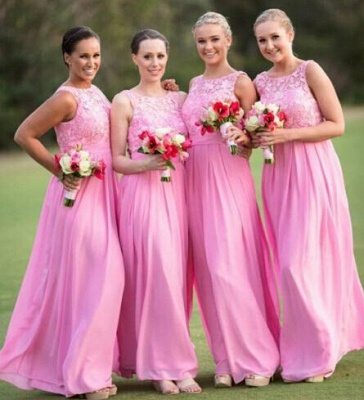 Pink Lace Long Bridesmaid Dress Popular Chiffon Floor Length Dresses for Wedding_4