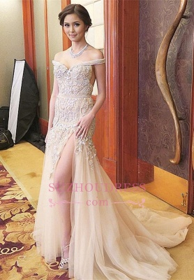 Off-the-shoulder Delicate Sweep-Train Mermaid Front-Split Prom Dress_2