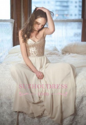 A-Line Simple Sleeveless Sequins Spaghetti-Straps Prom Dresses_2