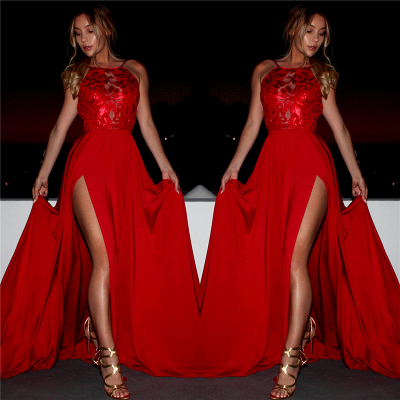 Red Sexy Side Split Sleeveless Prom Dresses Sleeveless Straps   Evening Gown_3