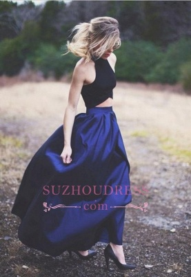 Two Piece Puffy Blue Navy Elegant Prom Dresses_3