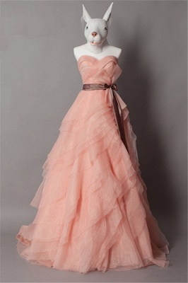 Cute Tiered Sweetheart Long Prom Dress Latest Sweep Train Lace-Up Popular Women Dresses with Bowknot_1