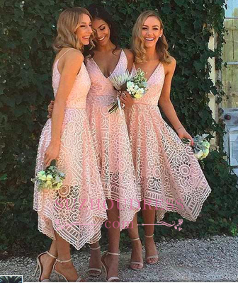 Sleeveless Newest Spaghetti Strap Tea Length Lace Bridesmaid Dress_1