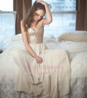 A-Line Simple Sleeveless Sequins Spaghetti-Straps Prom Dresses_1