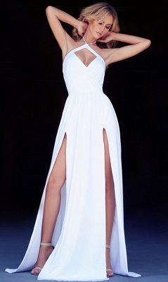 New Arrival Hlater Chiffon Evening Gown Simple Open Back Slit  Prom Dress BA2092_4