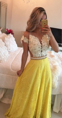 Short Lace Sleeve Long Prom Dress  Pearl Belt Latest Evening Dress BMT009_2