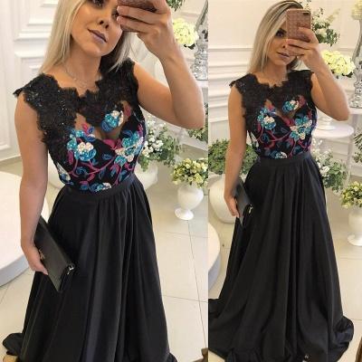 Black Floor Length Flowers Prom Dresses Unique Black Evening Dress_3
