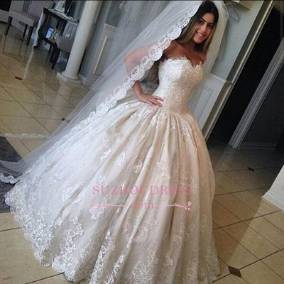 Ball Gown Gorgeous Sweetheart Lace Bride Dress Princess  Wedding Dresses_1