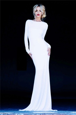 Long Sleeve Sheath Sexy Evening Dresses  Open Back Sweep Train Prom Gowns_1