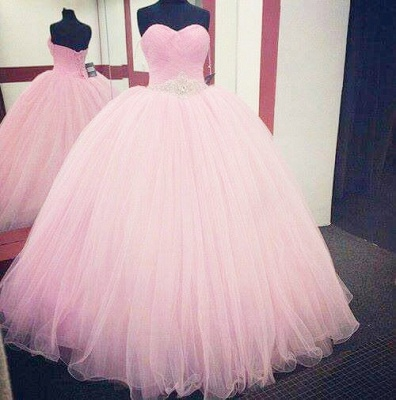 Lovely Candy Pink Sweetheart Ball Gown Quinceanera Dress Beads Crystals Plus Size Formal Dress_3