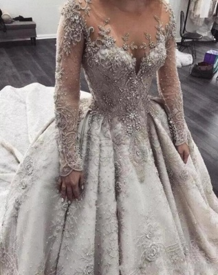 Affordable Sheer Tulle Crystal Beads Wedding Dresses Long Sleeve Lace Bridal Gowns Online_4