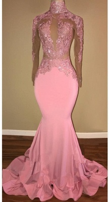 Candy Pink  Long Sleeve Prom Dress Lace Mermaid Open Back Sexy Evening Gown BA7959_1