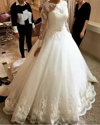 New Arrival Long Sleeve Lace Bridal Gown A-line Scoop Court Train Wedding Dresses_1