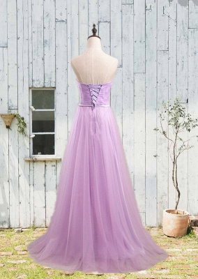 Simple Sweetheart Sash  Prom Gowns Elegant Lace-Up Bridesmaid Dresses_3
