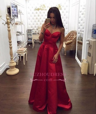 Spaghetti Straps Off The Shoulder Red Evening Gowns  Sweetheart Formal Dress_1