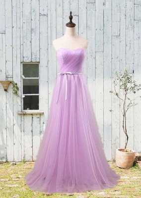 Simple Sweetheart Sash  Prom Gowns Elegant Lace-Up Bridesmaid Dresses_2