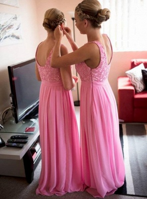 Pink Lace Long Bridesmaid Dress Popular Chiffon Floor Length Dresses for Wedding_2
