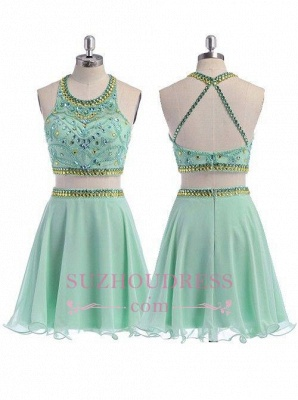 Coral Crystals Two Piece Party Dressess Beading Organza Mini  Halter Homecoming Dress_3