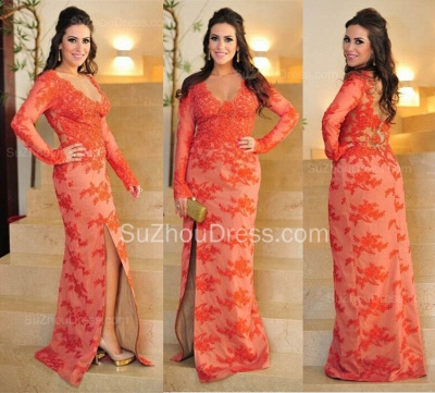 Long Sleeve V-Neck Maternity Evening Dress Lace Floor Length Plus Size Pregnant Dresses_2