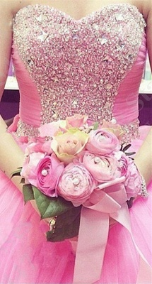 Lovely Candy Pink Sweetheart Ball Gown Quinceanera Dress Beads Crystals Plus Size Formal Dress_1
