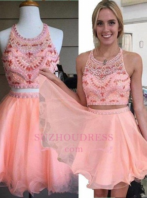 Coral Crystals Two Piece Party Dressess Beading Organza Mini  Halter Homecoming Dress_1