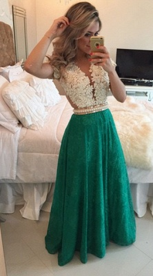 Short Lace Sleeve Long Prom Dress  Pearl Belt Latest Evening Dress BMT009_3