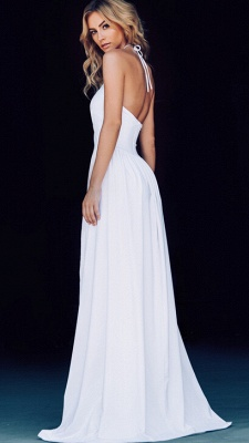 New Arrival Hlater Chiffon Evening Gown Simple Open Back Slit  Prom Dress BA2092_5