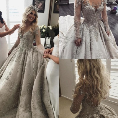 Affordable Sheer Tulle Crystal Beads Wedding Dresses Long Sleeve Lace Bridal Gowns Online_3
