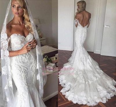 Off The Shoulder Elegant Mermaid Wedding Dress Tulle Backless Appliques  Bride Dress_1
