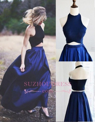 Two Piece Puffy Blue Navy Elegant Prom Dresses_1