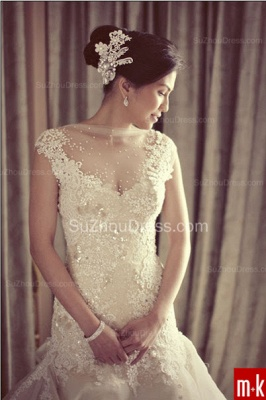 Organza Bridal Dresses Sequined Appliques Beading Tiered Draped Short Sleeve Chapel Train Wedding Gowns_2