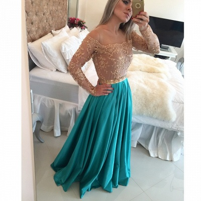 Gorgeous Lace Long Sleeve Evening Gown A-Line Satin Natural Prom Dresses_3