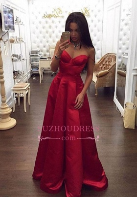 Spaghetti Straps Off The Shoulder Red Evening Gowns  Sweetheart Formal Dress_3