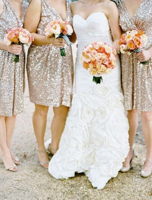 Sparkly Sequined V-neck Bridesmaid Dress Sleeveless  Cocktail Party Dresses_3