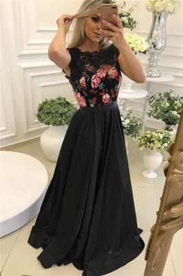 Black Floor Length Flowers Prom Dresses Unique Black Evening Dress_5