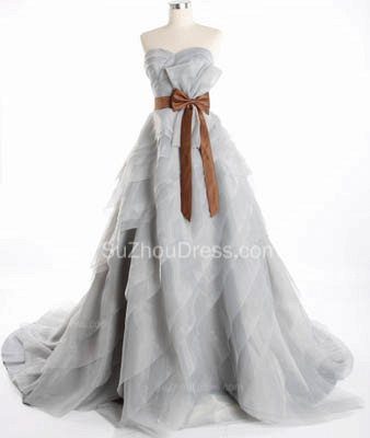 Cute Tiered Sweetheart Long Prom Dress Latest Sweep Train Lace-Up Popular Women Dresses with Bowknot_3
